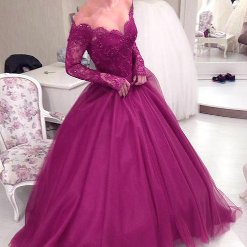 Image of Illusion Scoop Neckline Lace Long Sleeves Ball Gowns Prom Dresses