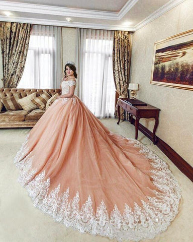 Image of Princess-Wedding-Dresses-Ball-Gowns-Lace-Off-The-Shoulder-Bride-Dresses-Royal-Train