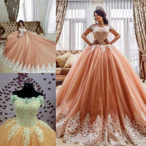 Image of Lace Embroidery Off The Shoulder Tulle Ball Gowns Quinceanera Dresses