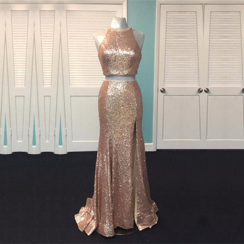 Image of Rose Gold Sequin Two Piece Prom Dresses Mermaid Evening Gowns