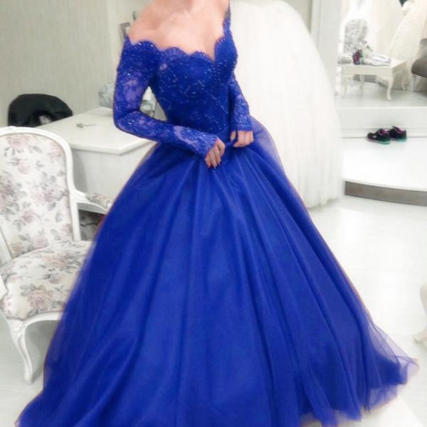 Illusion Scoop Neckline Lace Long Sleeves Ball Gowns Prom Dresses ...