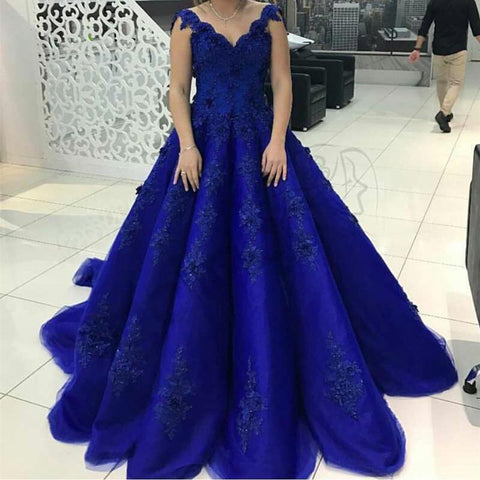 Image of Elegant Lace Straps V Neck Tulle Royal Blue Wedding Dresses Ball Gowns