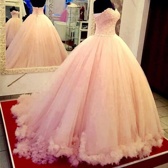 Pink Lace Appliques Sweetheart Tulle Quinceanera Dresses Ball Gowns
