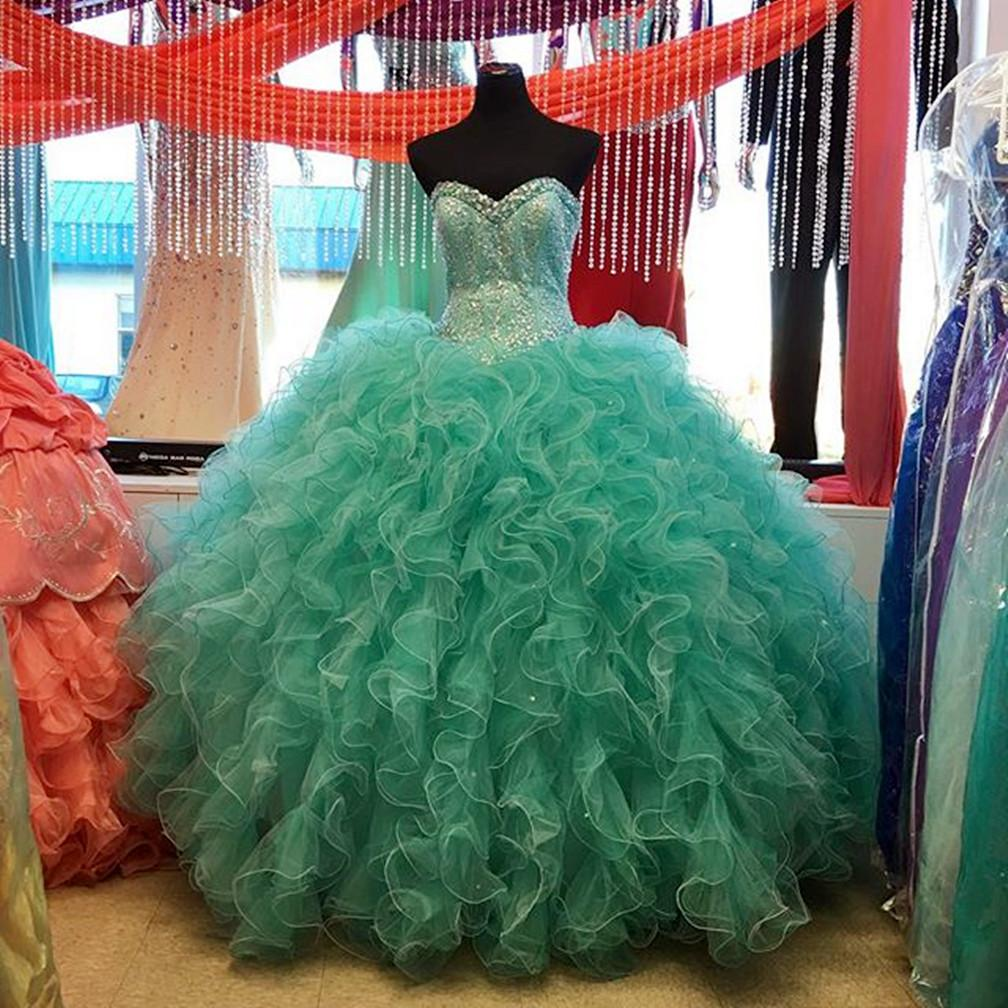 Lovely Beaded Organza Ruffles Turquoise Quinceanera Dresses Ball Gowns