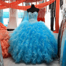 Load image into Gallery viewer, Lovely Beaded Organza Ruffles Turquoise Quinceanera Dresses Ball Gowns