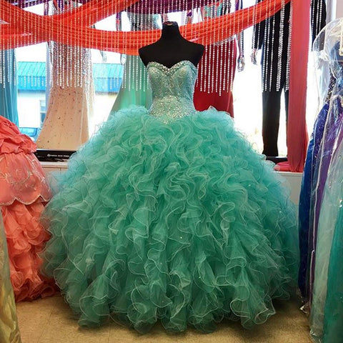 Image of Lovely Beaded Organza Ruffles Turquoise Quinceanera Dresses Ball Gowns