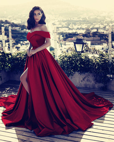 Image of burgundy-evening-gowns-2019-long-prom-dresses