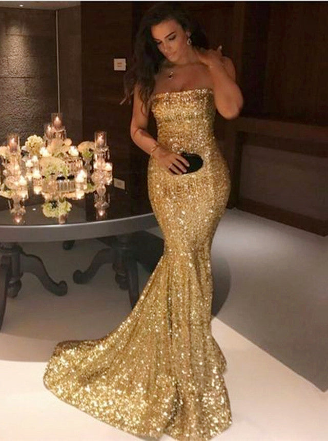 e894e2edb8 Sexy Strapless Long Glitter Sequins Prom Dress Mermaid Evening Gowns ...