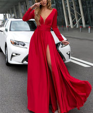 Load image into Gallery viewer, Red-Prom-Dresses-Long-Sleeves-Evening-Gowns-Leg-Split