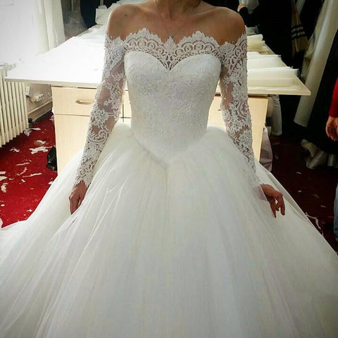 Image of Long-Sleeves-Wedding-Dresses-2019-Tulle-Ball-Gowns-Lace-Appliques