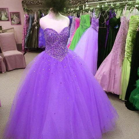 Image of Beading Sweetheart Tulle Ball Gowns Quinceanera Dresses
