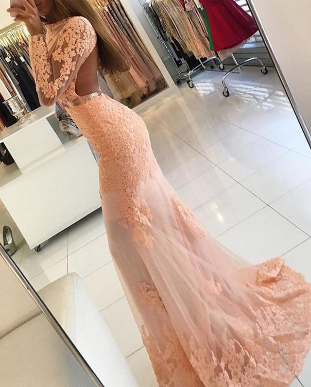 Long Sleeves Open Back Lace Mermaid Prom Dresses
