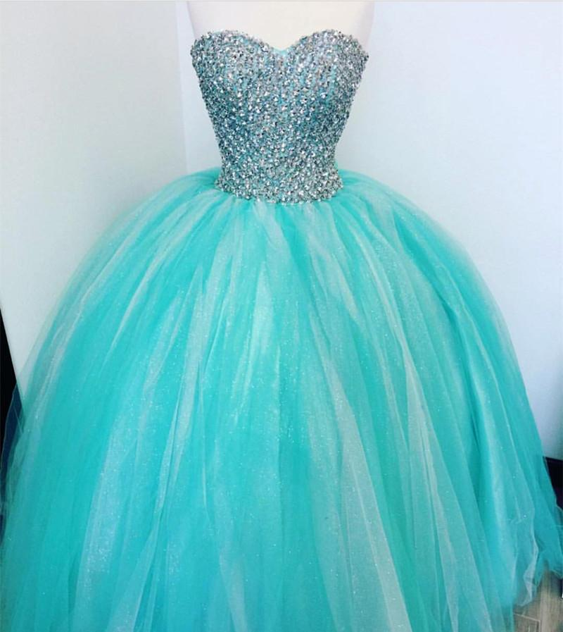 Luxurious Crystal Beaded Sweetheart Turquoise Quinceanera Dresses 2018
