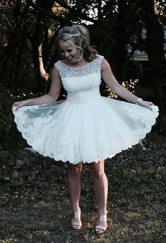 Image of White Lace Appliques Tulle Homecoming Dresses Pearl Beaded Prom Dress Short