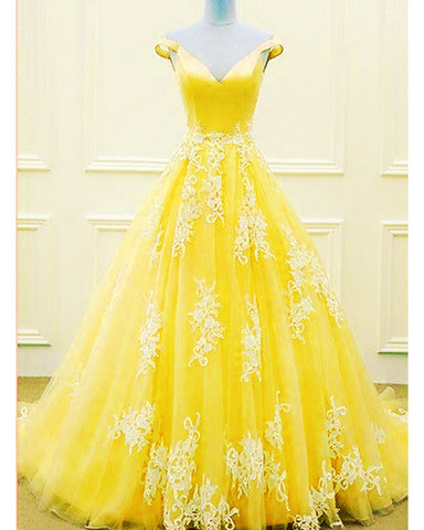 Image of Yellow Ball Gowns Prom Dresses 2020