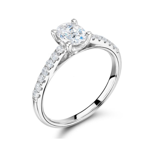 Oval Cut Diamond Engagement Ring, Oval Centre Stone with Pave Diamond Shoulders. Engagement Rings Dublin. Oval Engagement Rings Dublin