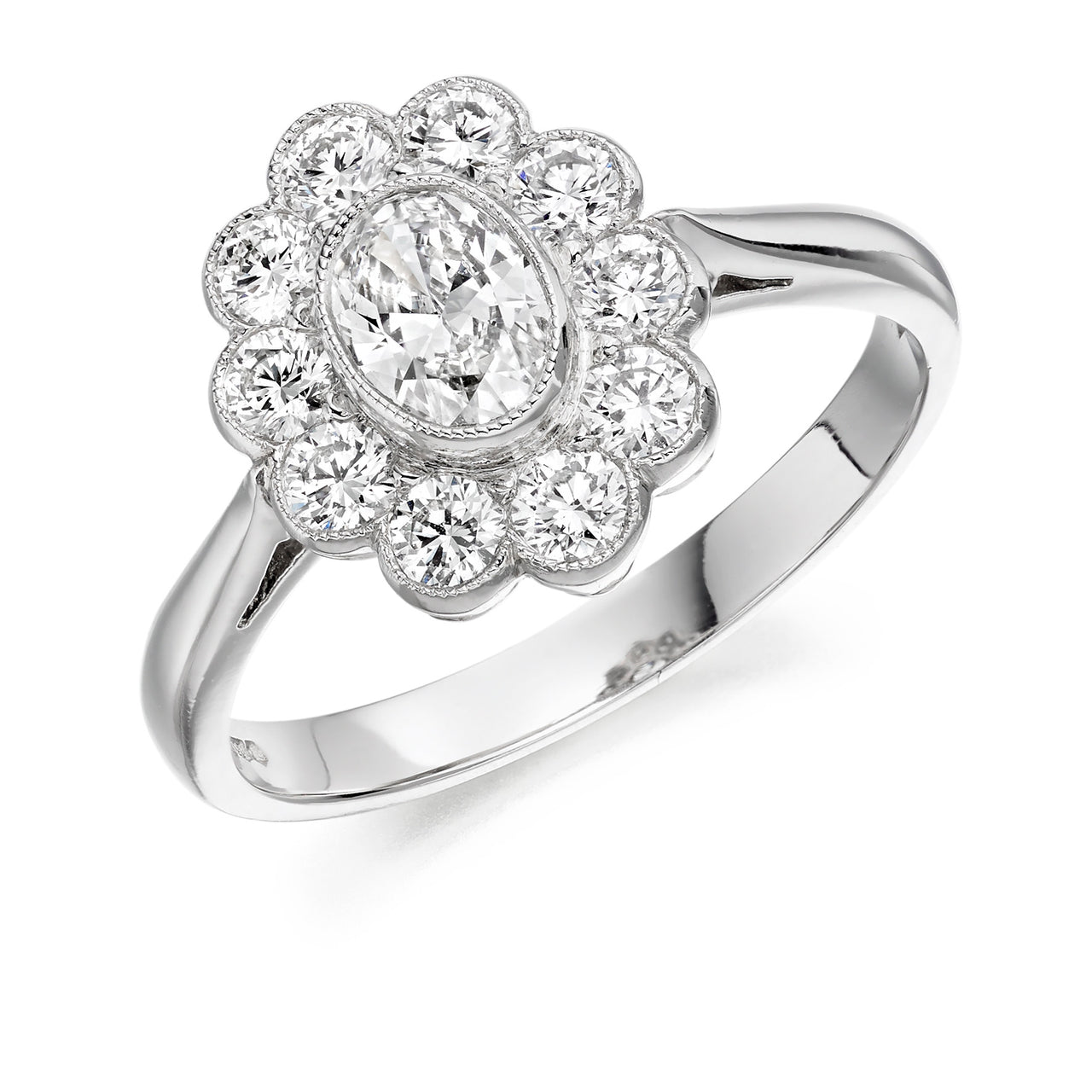 Cluster Style Engagement Ring with Oval Centre | Engagement Rings Dublin Oval Cluster