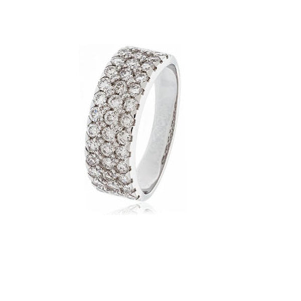 3 Row Diamond Pavé Band