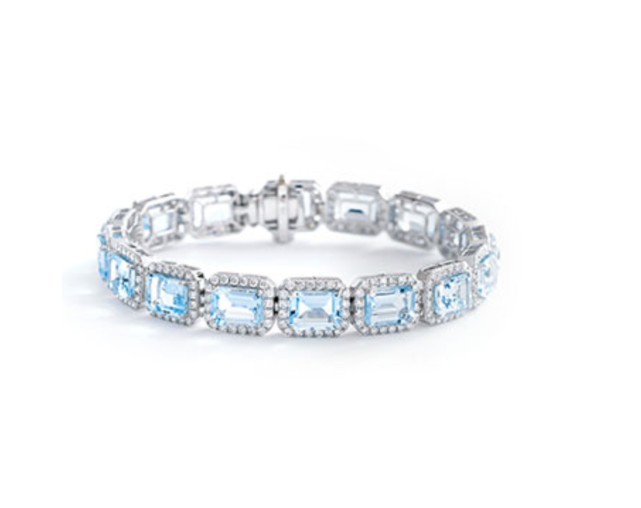 Emerald Cut Aquamarine & Diamond Bracelet