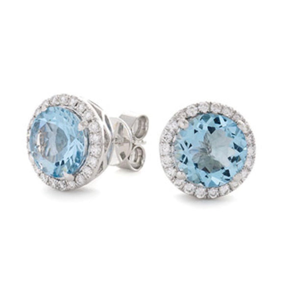 Aquamarine Vintage Surround Earrings
