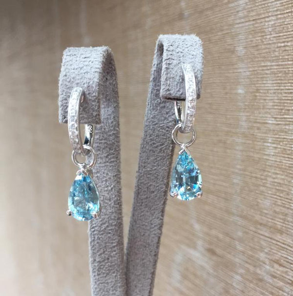 Aquamarine Huggie Drop Earrings