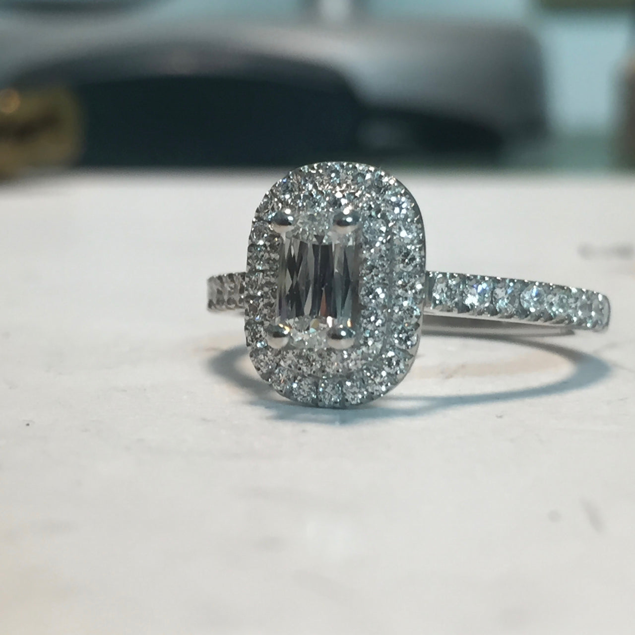 Double Halo Ashoka Cut Engagement Ring
