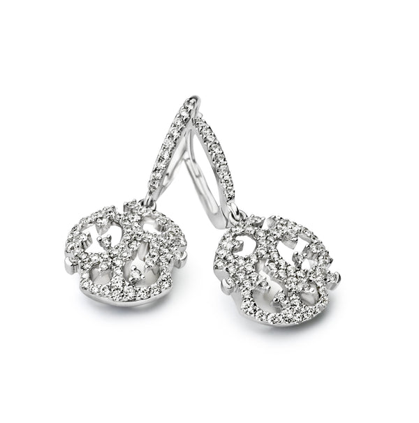 Diamond Drop Earrings | Diamond Circle Drop Earrings | Diamond Earrings Dublin