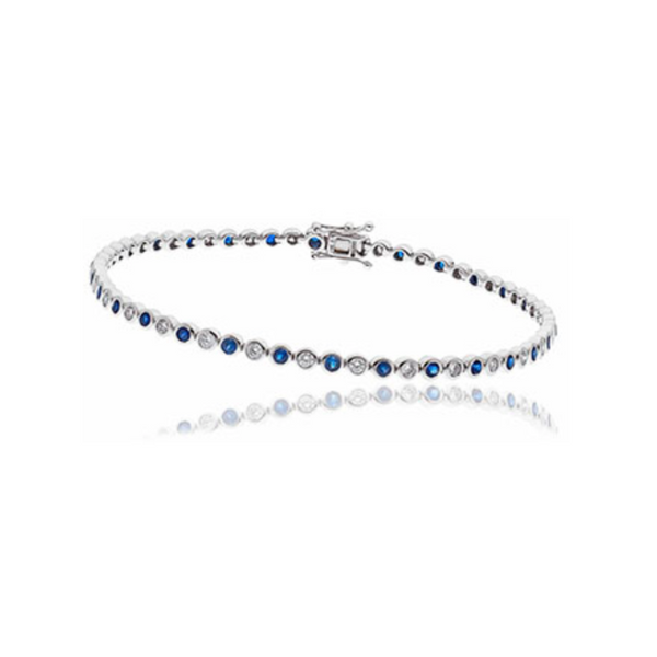 Sapphire and Diamond line bracelet, ruby and diamond rubover bracelet