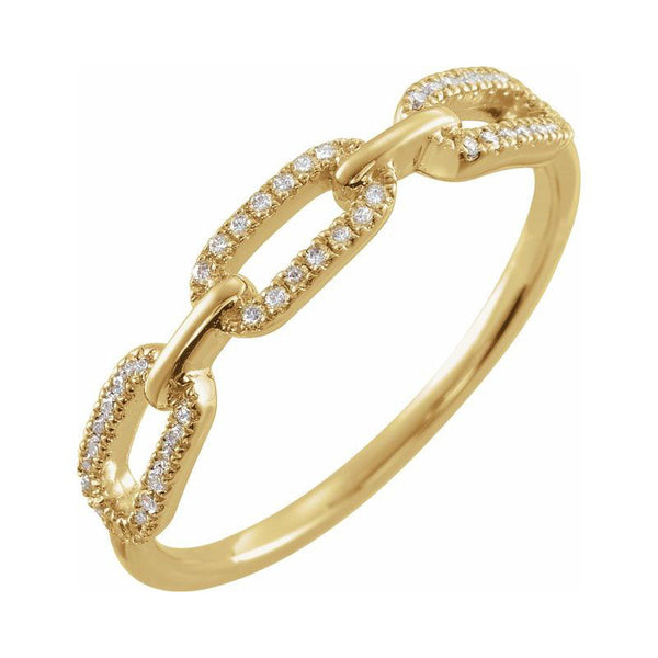 Diamond Set Chain Link Ring