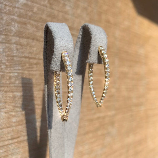 Pointed Hoop Diamond Earrings