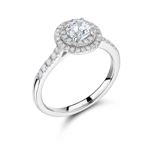 Double Halo Round Brilliant Cut Engagement Ring