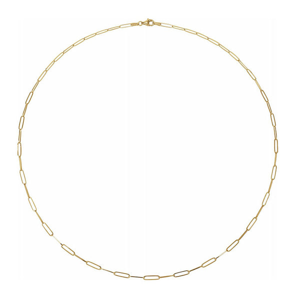 Gold Elongated Flat Link Chain