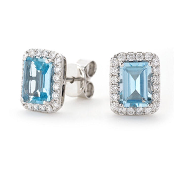 Aquamarine Earrings | Emerald Cut Aquamarine Earrings Dublin