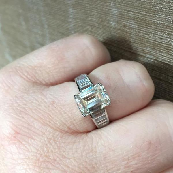 Engagement Rings Dublin | Emerald Cut Engagement Ring Baguette Cut Diamonds on Band
