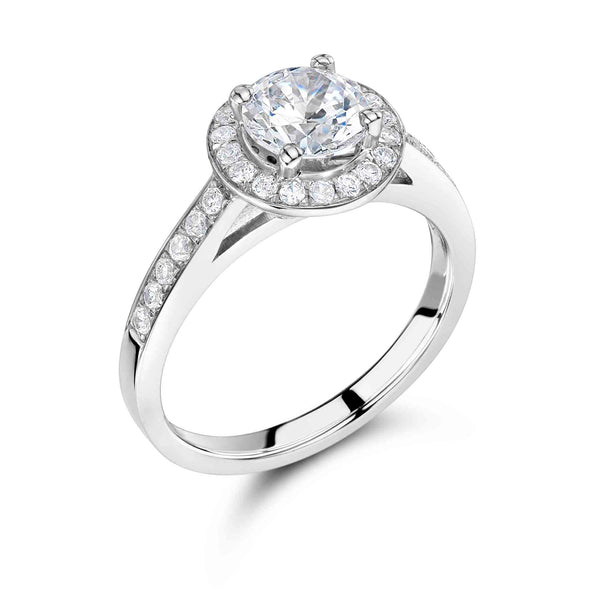 Vintage Surround Round Brilliant Engagement Ring
