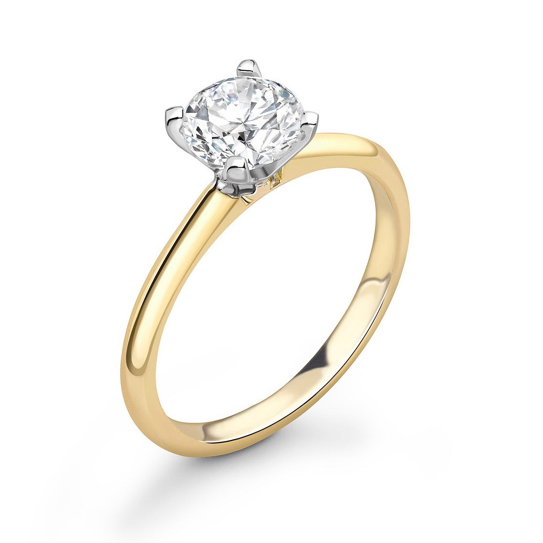 "Round Solitaire Engagement Ring - ""Pointed Arch"""