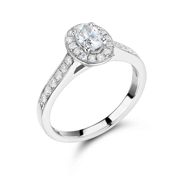 Vintage Surround Oval Cut Engagement Ring