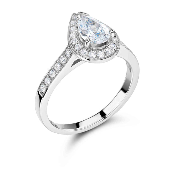 Vintage Surround Pear Shaped Engagement Ring