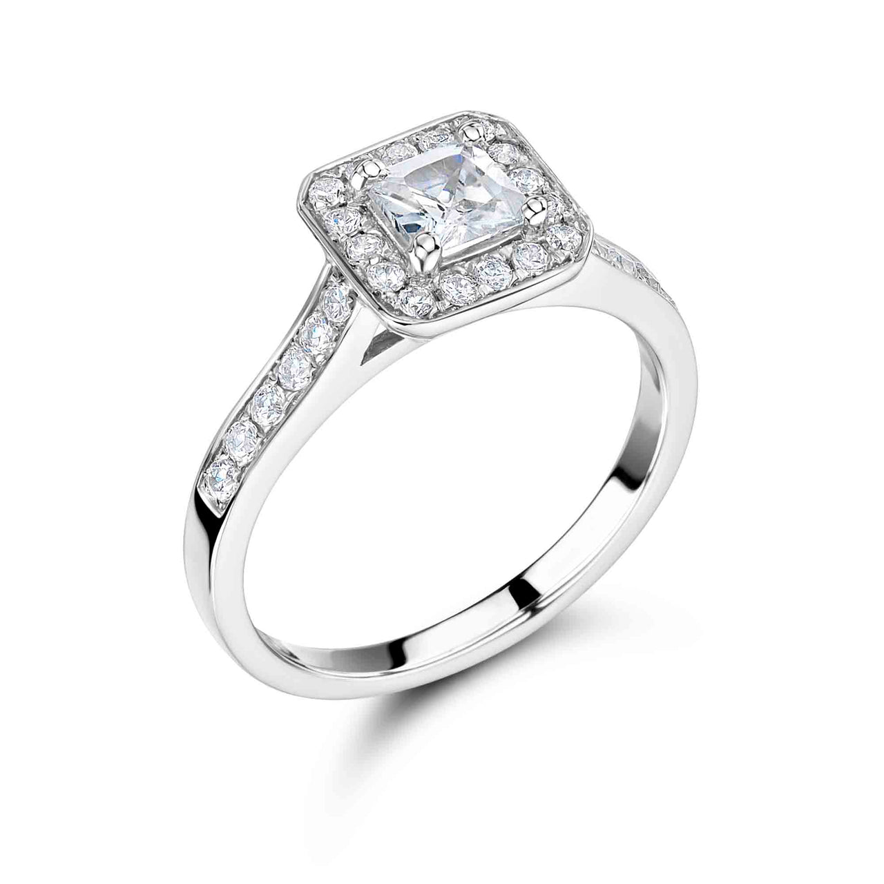 Vintage Surround Princess Cut Engagement Ring