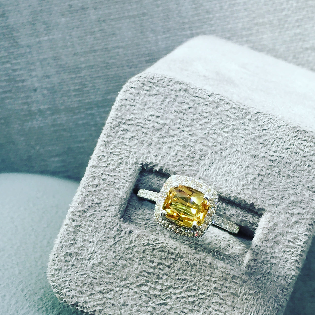 Yellow Sapphire & Diamond Halo Engagement Ring