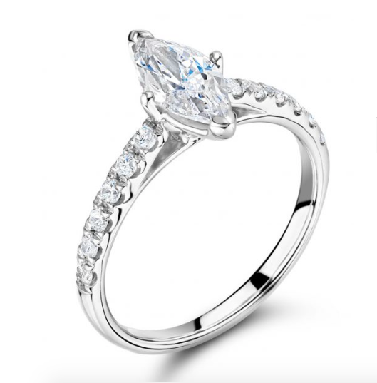 Solitaire Marquise Cut Engagement Ring with Pavè Band