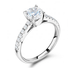 Solitaire Round Brilliant Cut Diamond Engagement Ring with Pavè Band