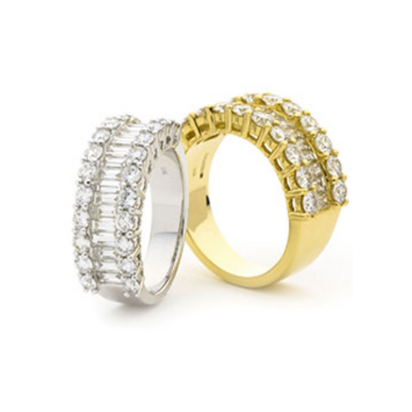 Round Diamonds and Baguette Diamonds Dress Ring