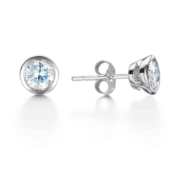 Diamond Stud Earrings Dublin | Bezel Set Diamond Stud Earrings 18ct White Gold