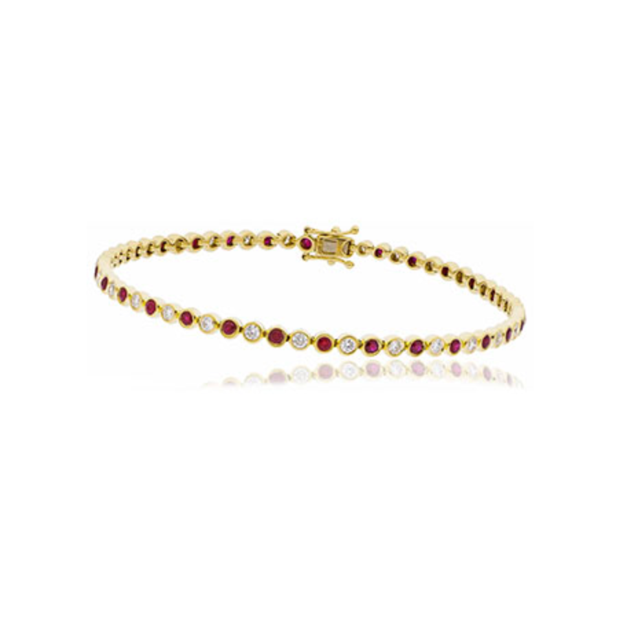 Ruby and diamond line bracelet Rubover ruby bracelet yellow gold ruby bracelet