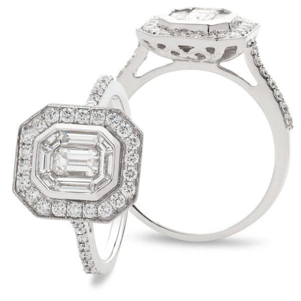Vintage Surround Emerald Cut Engagement Ring