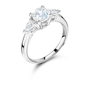 3 Stone Round Brilliant Engagement Ring with Pear Shaped Sides