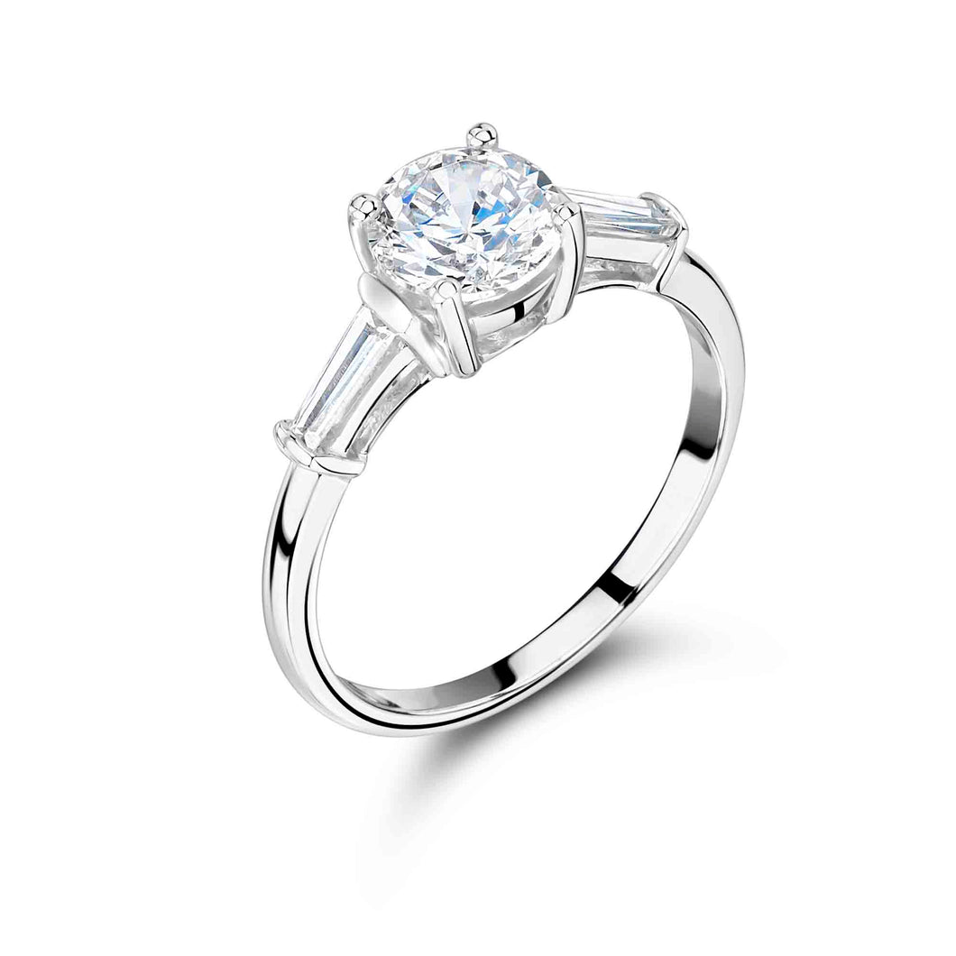 3 Stone Round Brilliant Engagement Ring with Baguette Shoulder Stones