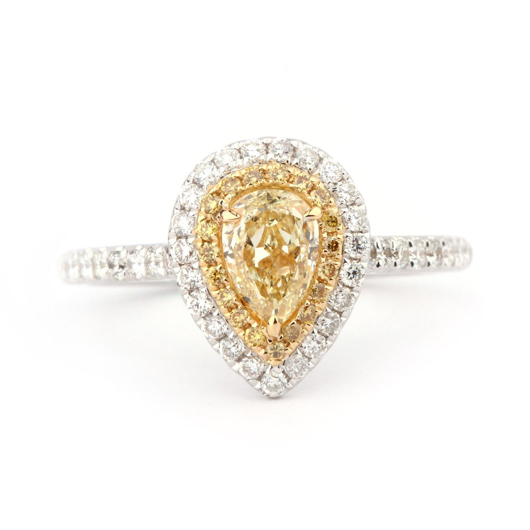 Yellow Diamond Pear Shaped Engagement Ring