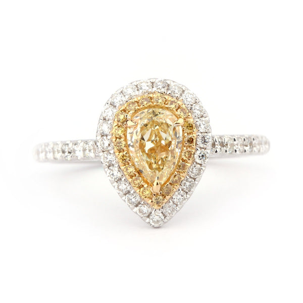 Yellow Diamond Pear Cut Engagement Ring